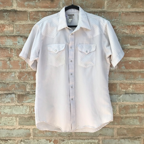 Vintage Other - Vintage Men's Shirt White Western Pearl Snap 16.5